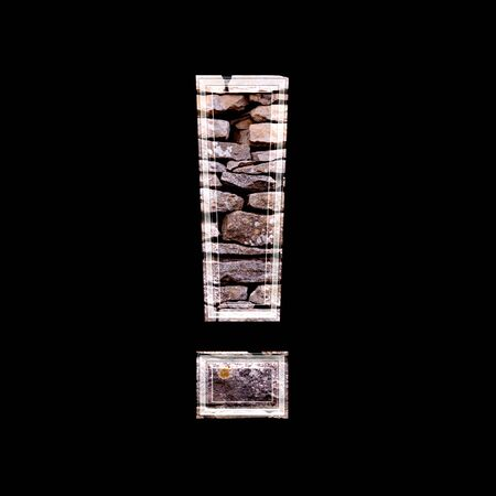 computergraphics: 3d exclamation point with stone wall texture