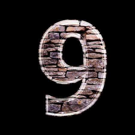 computergraphics: Stone 3d digit 9
