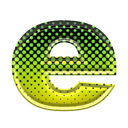 lower: Halftone 3d lower-case letter e