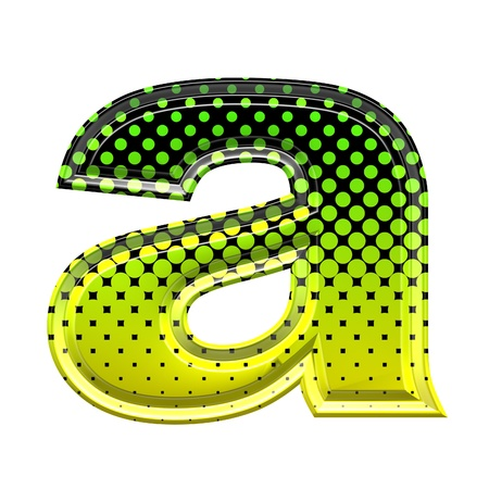 Halftone 3d lower-case letter a