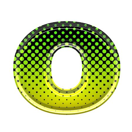 Halftone 3d lower-case letter o Stock Photo