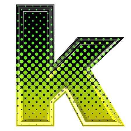 lower: Halftone 3d lower-case letter k