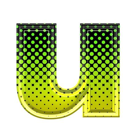 lower: Halftone 3d lower-case letter u