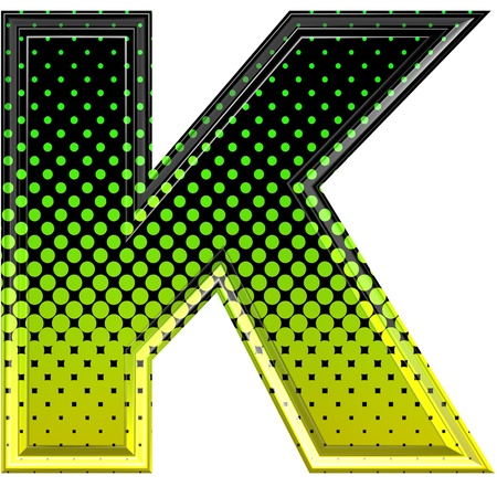 upper case: Halftone 3d upper-case letter k