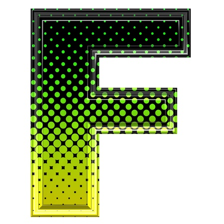 upper case: Halftone 3d upper-case letter f