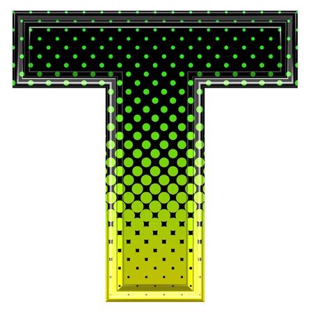 saturated color: Halftone 3d upper-case letter t