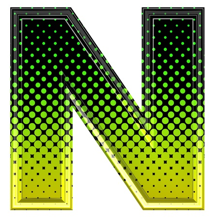 upper case: Halftone 3d upper-case letter n