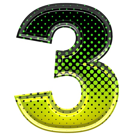 digit 3: Halftone 3d digit 3