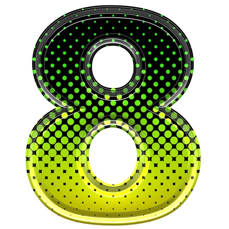 number eight: Halftone 3d digit 8