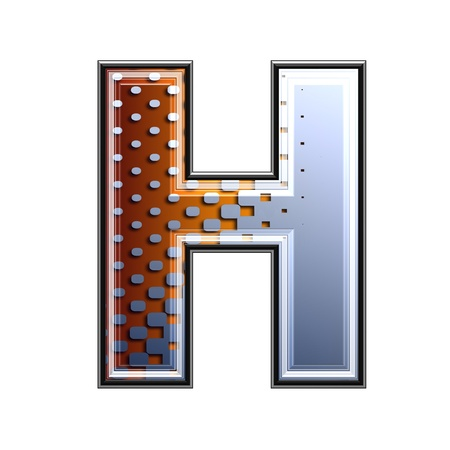 3d letter with abstract texture - h photo