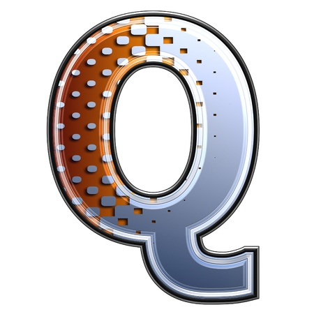 3d letter with abstract texture - q Stock Photo - 13276003