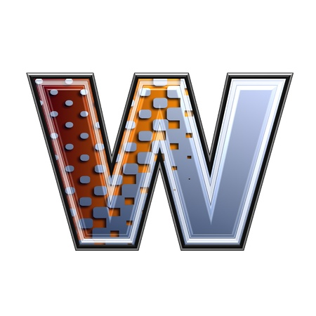 3d letter with abstract texture - w photo