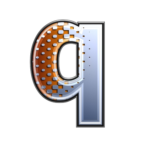 3d letter with abstract texture - q photo