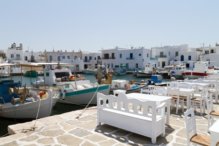 View of the port of Naoussa on the island of Paros, Greece