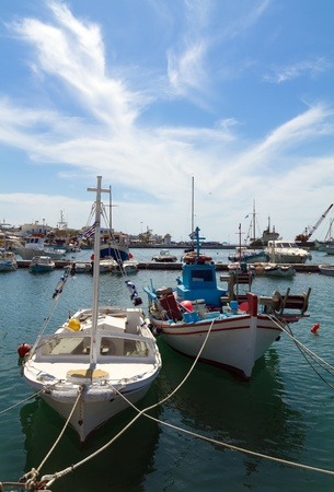 View of the port of Parikia on the island of Paros, Greece photo