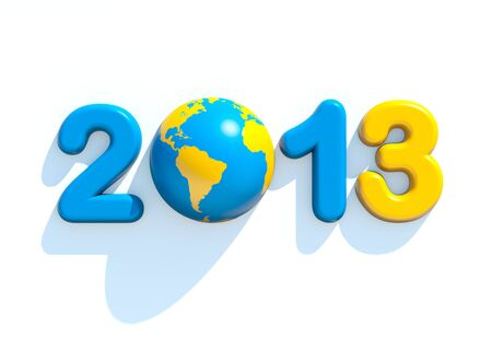 New year 2013 3d shape on white background with glossy globe Stock Photo