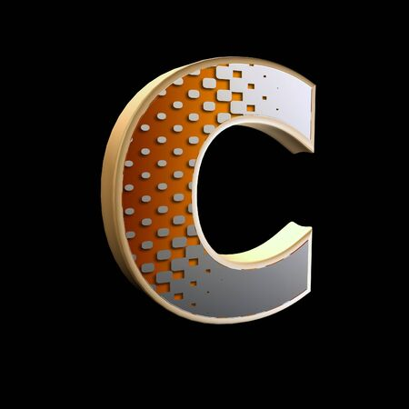 3d abstract letter with modern halftone pattern - C Stock Photo - 15212856