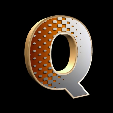 upper case: 3d abstract letter with modern halftone pattern - Q