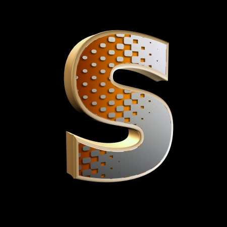 upper case: 3d abstract letter with modern halftone pattern - S