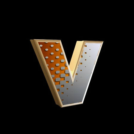 abstract 3d letter with halftone texture - v photo