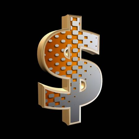 abstract 3d dollar currency sign with halftone texture photo