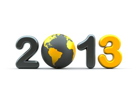worldwide wish: 3d new year 2013 shape on white background with 3d globe