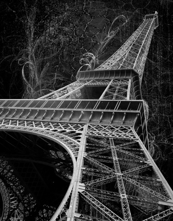 eiffel tower on grunge background - black and white picture Stock Photo - 18722252