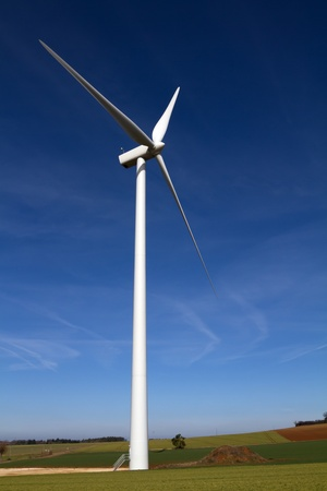 Wind turbine on clear blue sky photo