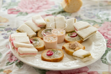 Close up shots of assorted sandwich triangles on a catering party platter Stock Photo - 18722193