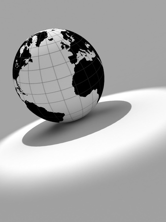3d earth on white and grey background Stock Photo - 18722153