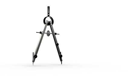 drafting tools: 3d compas isolated on a white background Stock Photo