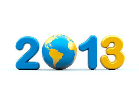 worldwide wish: New year 2013 3d shape on white background with glossy globe Stock Photo