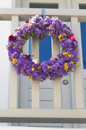 flower wreath on white wall - greece Stock Photo - 18722167