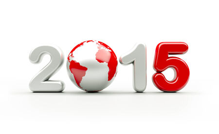 worldwide wish: New year 2015 3d illustration