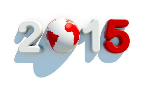 worldwide wish: New year 2015 on white background