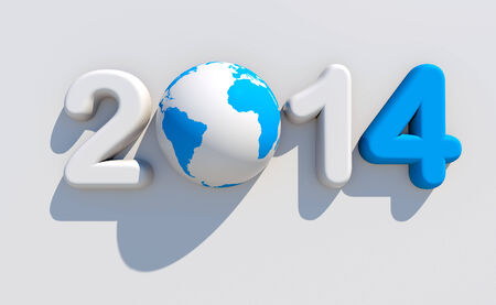 worldwide wish: New year 2014 3d shape on white background with glossy globe