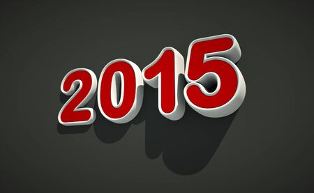 worldwide wish: 3D New year 2015 icon on black background