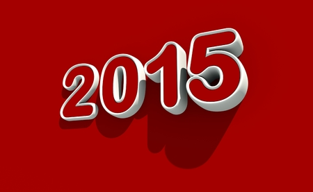worldwide wish: New year 2015 icon on red background