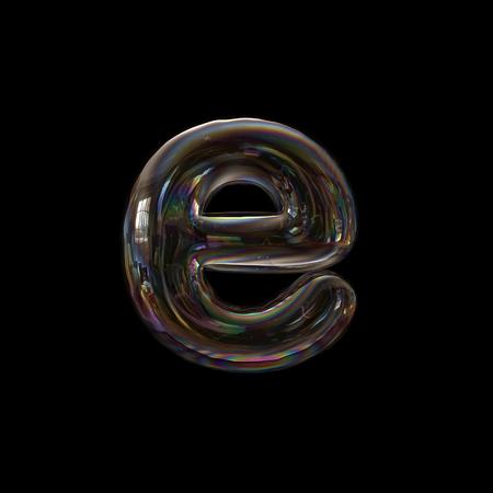 Soap bubble letter E - Lower-case 3d transparent font - childhood, imagination or fragility concept Stock fotó
