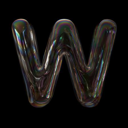 Soap bubble letter W - Capital 3d transparent font - childhood, imagination or fragility concept