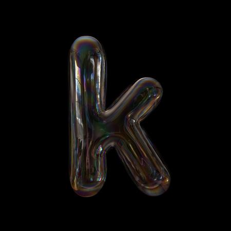 Soap bubble letter K - Lower-case 3d transparent font - childhood, imagination or fragility concept