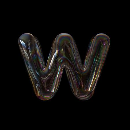 Soap bubble letter W - Lower-case 3d transparent font - childhood, imagination or fragility concept