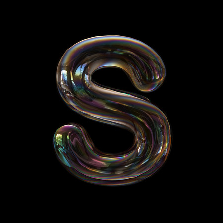 Soap bubble letter S - Uppercase 3d transparent font isolated on black background. This alphabet is perfect for creative illustrations related but not limited to childhood, imagination, fragility...