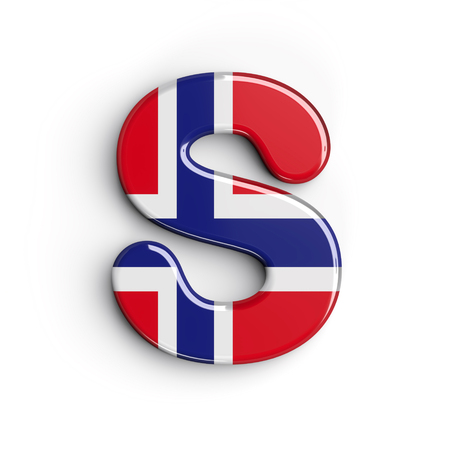 Norway letter S - Uppercase 3d norwegian flag font isolated on white background. This alphabet is perfect for creative illustrations related but not limited to Norway, Oslo, nordic countries, Europe...