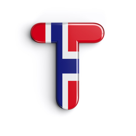 Norway letter T - Uppercase 3d norwegian flag font isolated on white background. This alphabet is perfect for creative illustrations related but not limited to Norway, Oslo, nordic countries, Europe...