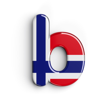 Norway letter B - Lower-case 3d norwegian flag font isolated on white background. This alphabet is perfect for creative illustrations related but not limited to Norway, Oslo, nordic countries, Europe... Stock Photo
