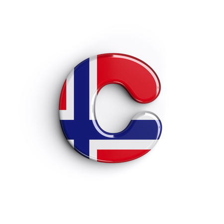 Norway letter C - Small 3d norwegian flag font isolated on white background. This alphabet is perfect for creative illustrations related but not limited to Norway, Oslo, nordic countries, Europe...