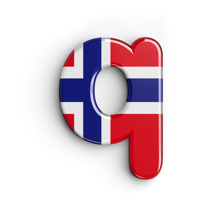 Norway letter Q - Lower-case 3d norwegian flag font isolated on white background. This alphabet is perfect for creative illustrations related but not limited to Norway, Oslo, nordic countries, Europe...