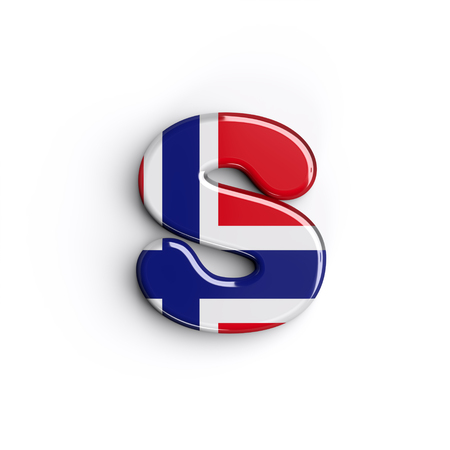 Norway letter S - Lowercase 3d norwegian flag font isolated on white background. This alphabet is perfect for creative illustrations related but not limited to Norway, Oslo, nordic countries, Europe... Banco de Imagens