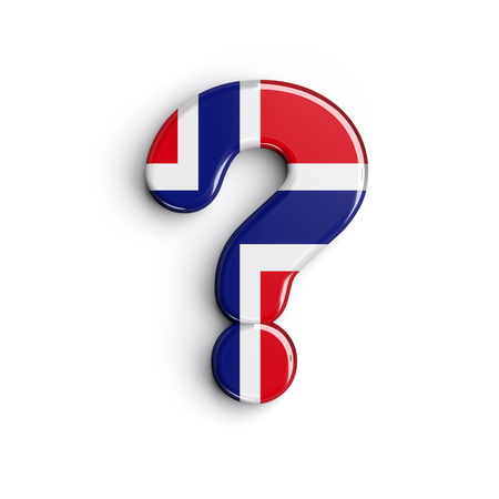 Norway interrogation point - 3d norwegian flag symbol isolated on white background. this alphabet is perfect for creative illustrations related but not limited to Norway, Oslo, nordic countries, Europe...